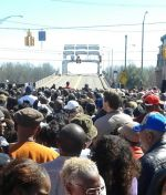 Shown in this photo is the Edmund Pettus Bridge and some of the crowd at the 50th Bloody Sunday Celebration on Saturday, March 7. Photo by Christen Hyde