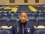 Stillman's Forward, Jamon Jackson-Wilson, poses for a photo in Birthright Alumni Hall. Photo by Tianna Jenkins